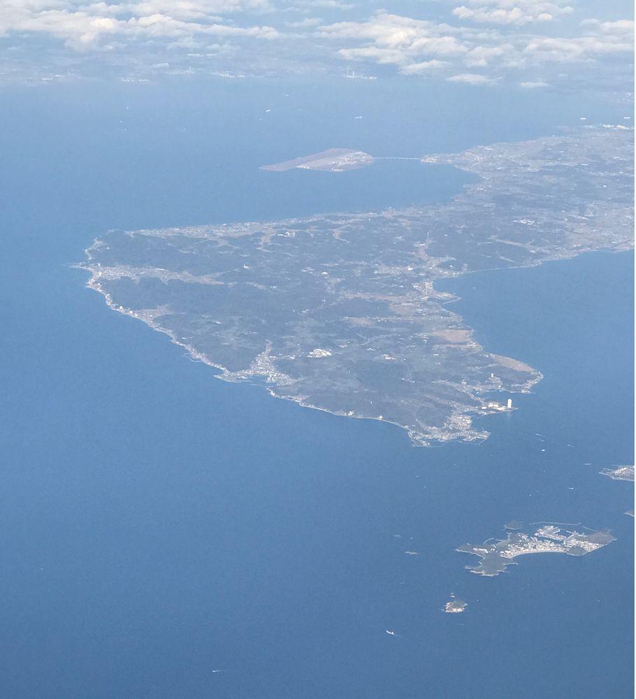 飛行機から羽豆岬