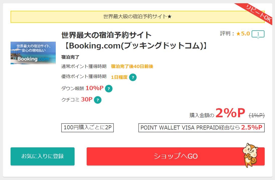 モッピーのBooking.com案件