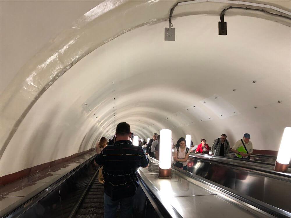 パヴェレツカヤ駅のエスカレーター
