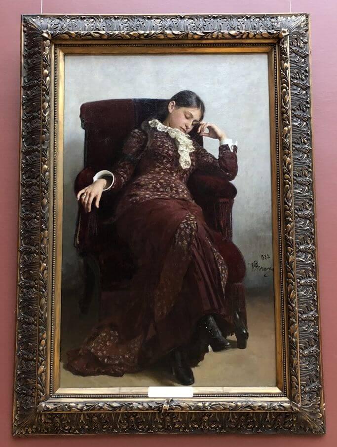 トレチャコフ美術館の「レーピンの妻」