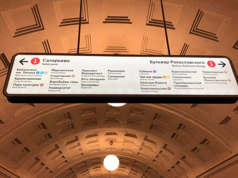 モスクワの地下鉄の英語併記の案内