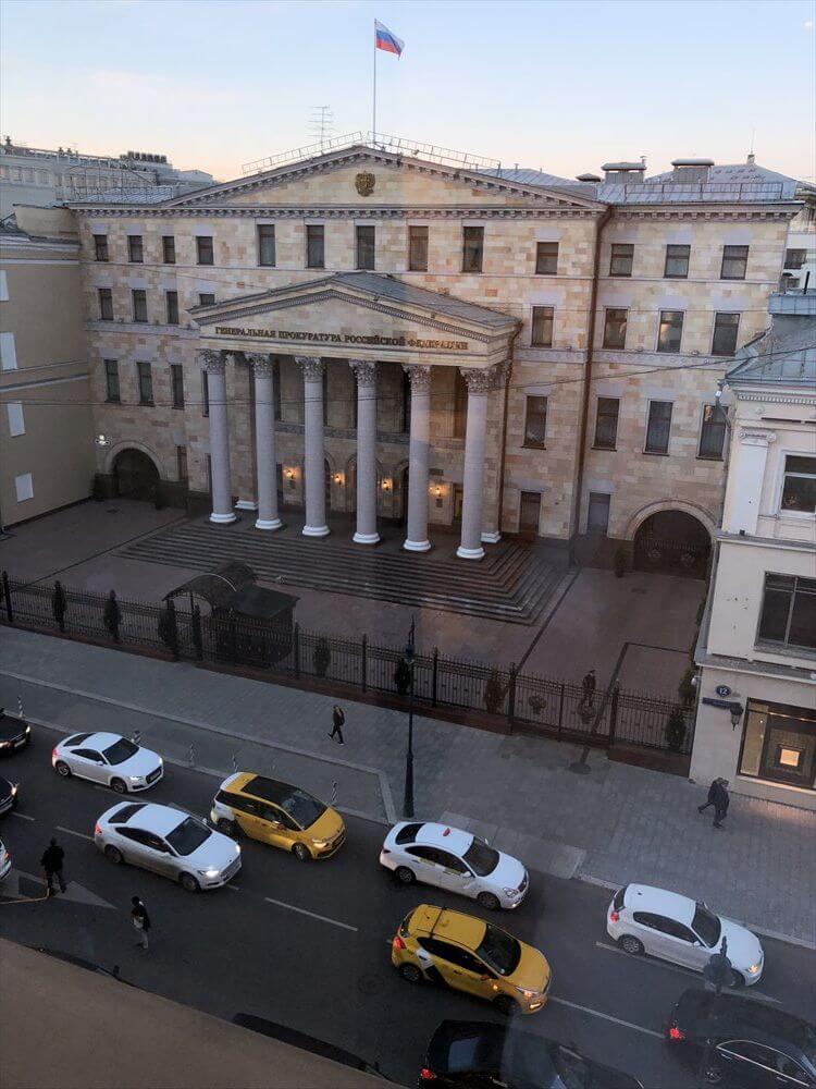 モスクワ マリオット ロイヤル オーロラ ホテルからの眺め(夜)