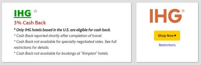 Mr.RebatesのIHGホテル予約ページ