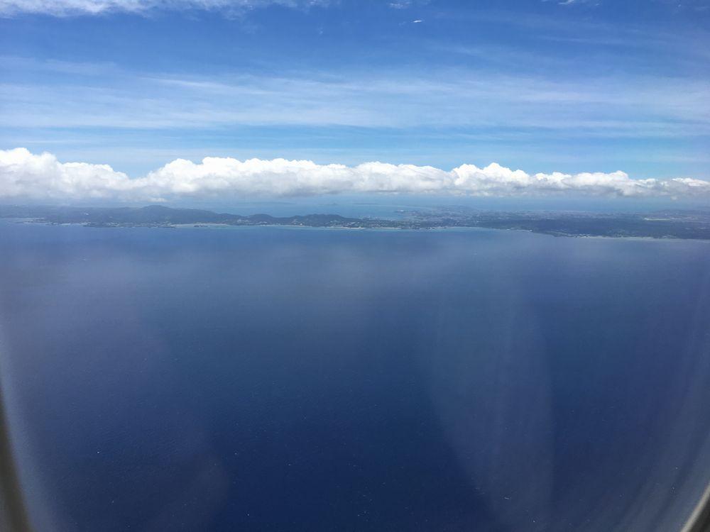 飛行機から見た海中道路