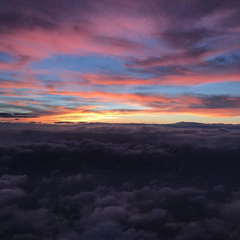 JAL914便から夏至の夕焼