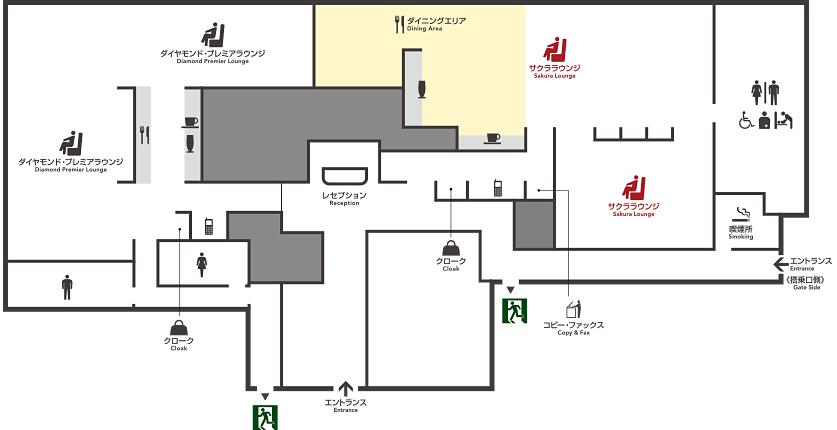 那覇空港のサクララウンジのマップ
