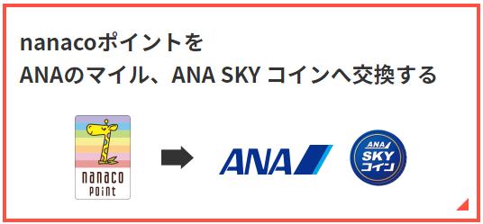 nanacoポイントをANAマイル・ANS SKYコインに交換