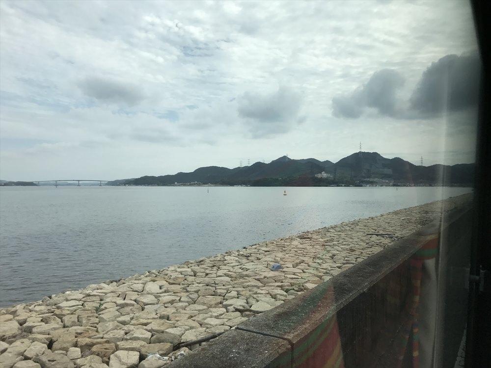 児島湾締め切り堤防から