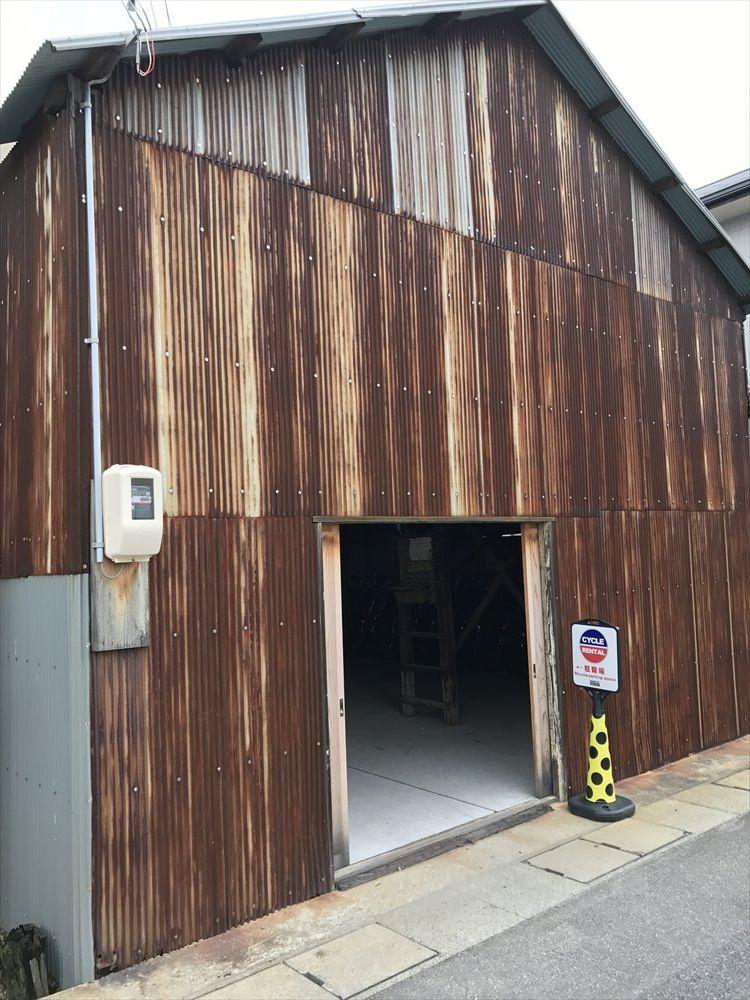 直島のおうぎやレンタサイクルの倉庫