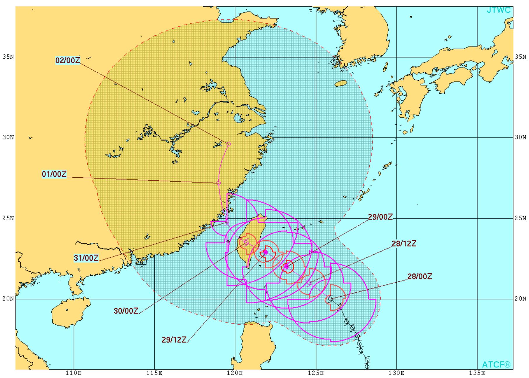 2017年台風9号の進路