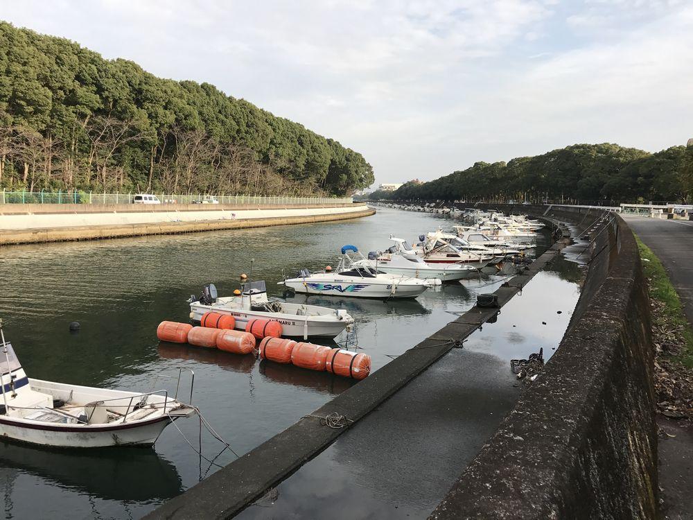 裏川の河口付近の船