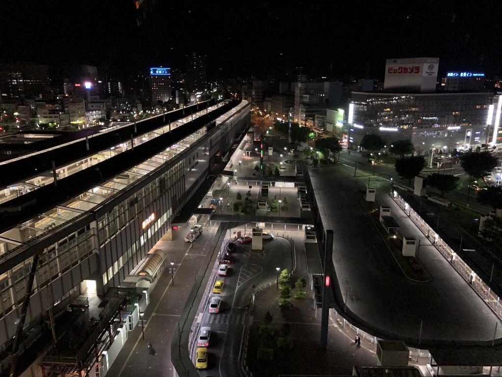 ホテルグランヴィア岡山からの岡山駅前(深夜)