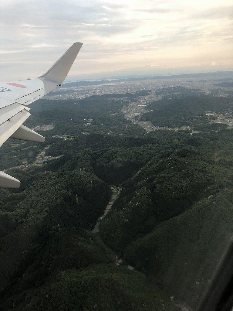 JAL242便から岡山市街地