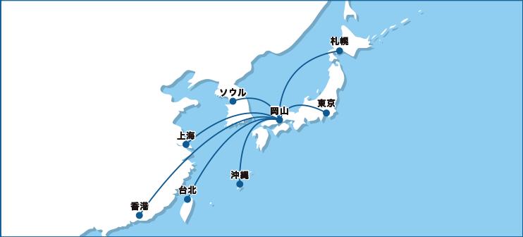 岡山空港の就航路線