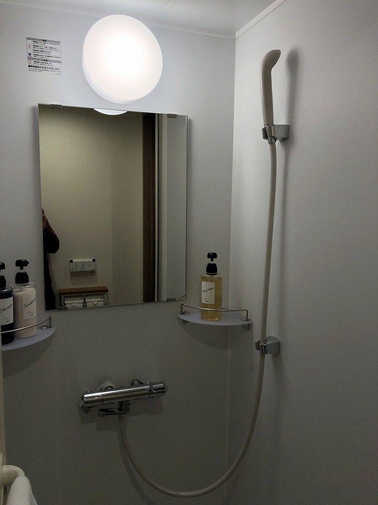 ドーミーイン前橋のダブルルームのシャワールーム
