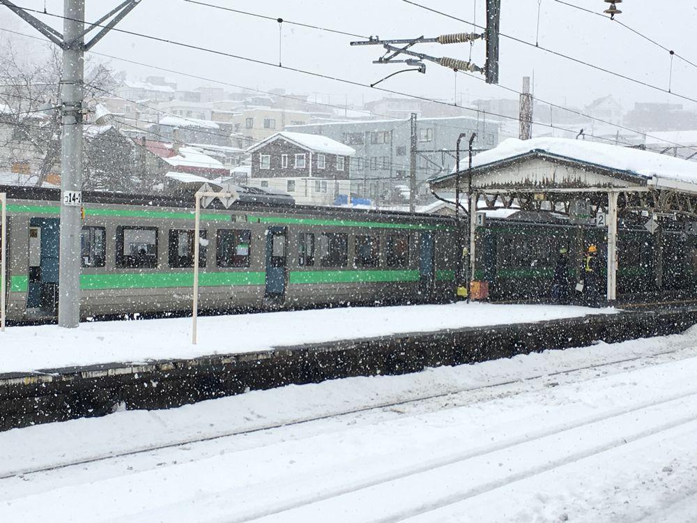 雪の降る小樽駅