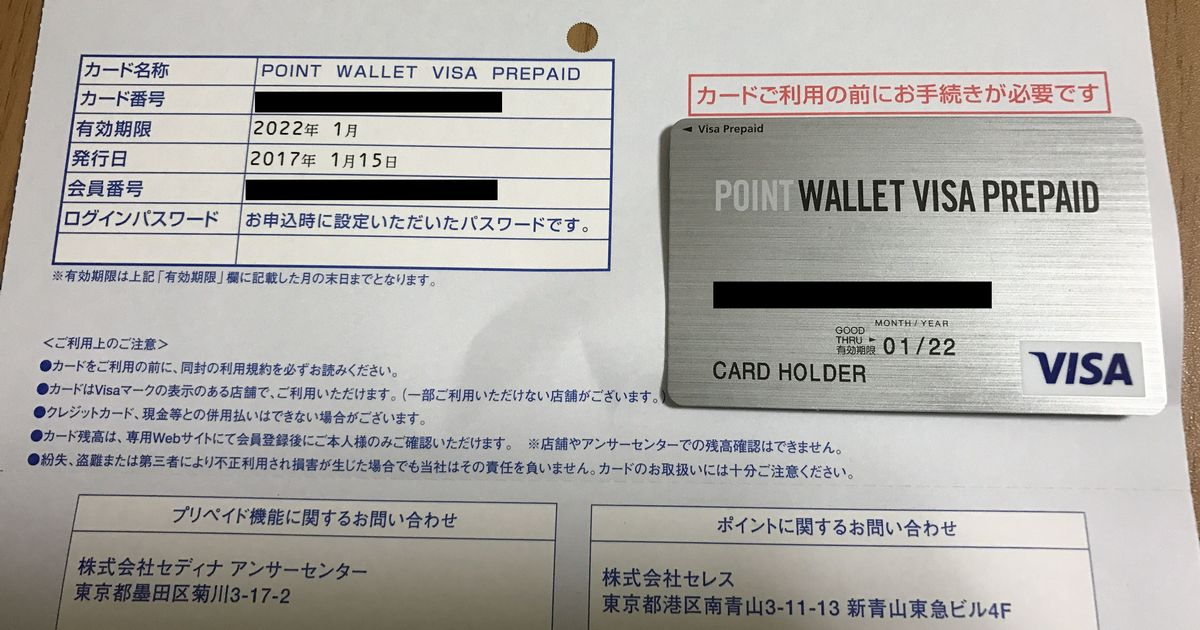 POINT WALLET VISA PREPAIDのカード台紙