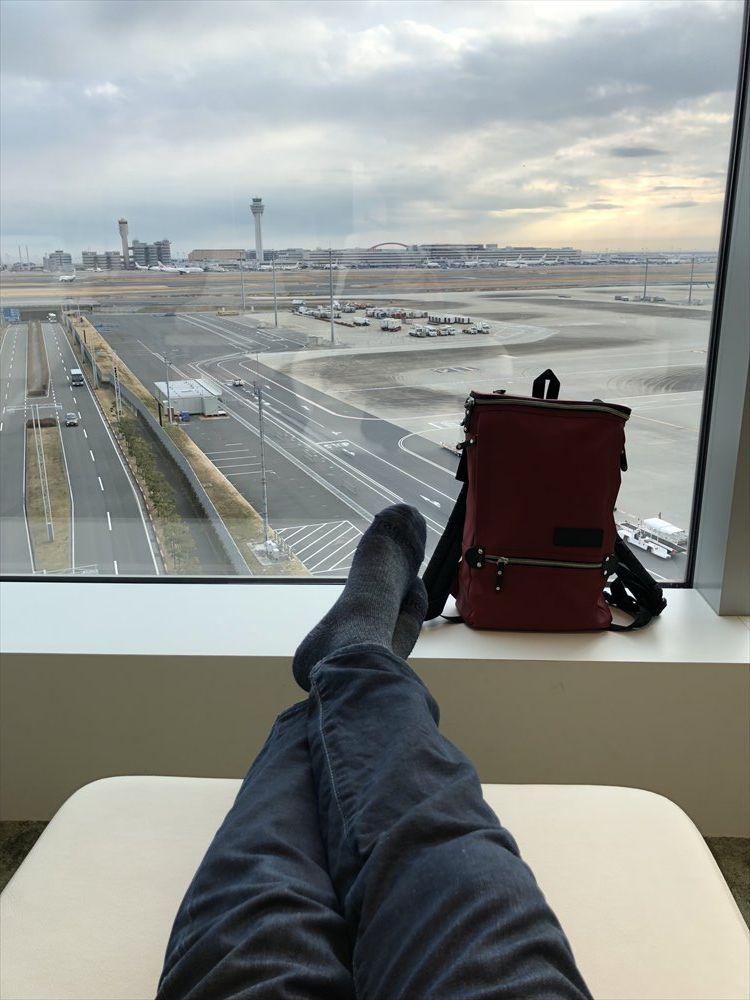 羽田空港国際線ターミナルのサクララウンジ スカイビューからの眺め4