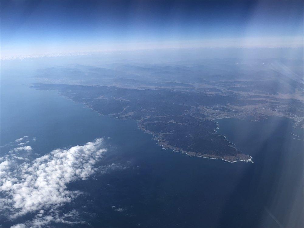 JAL91便から鳥取の海岸線