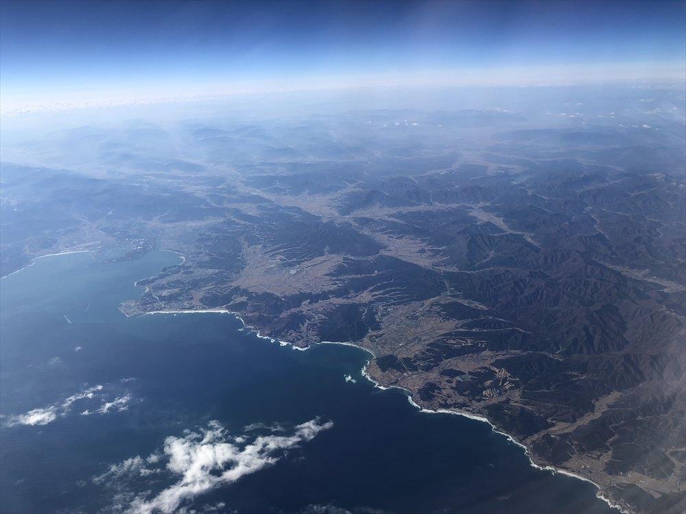 JAL91便から韓国の大地の色