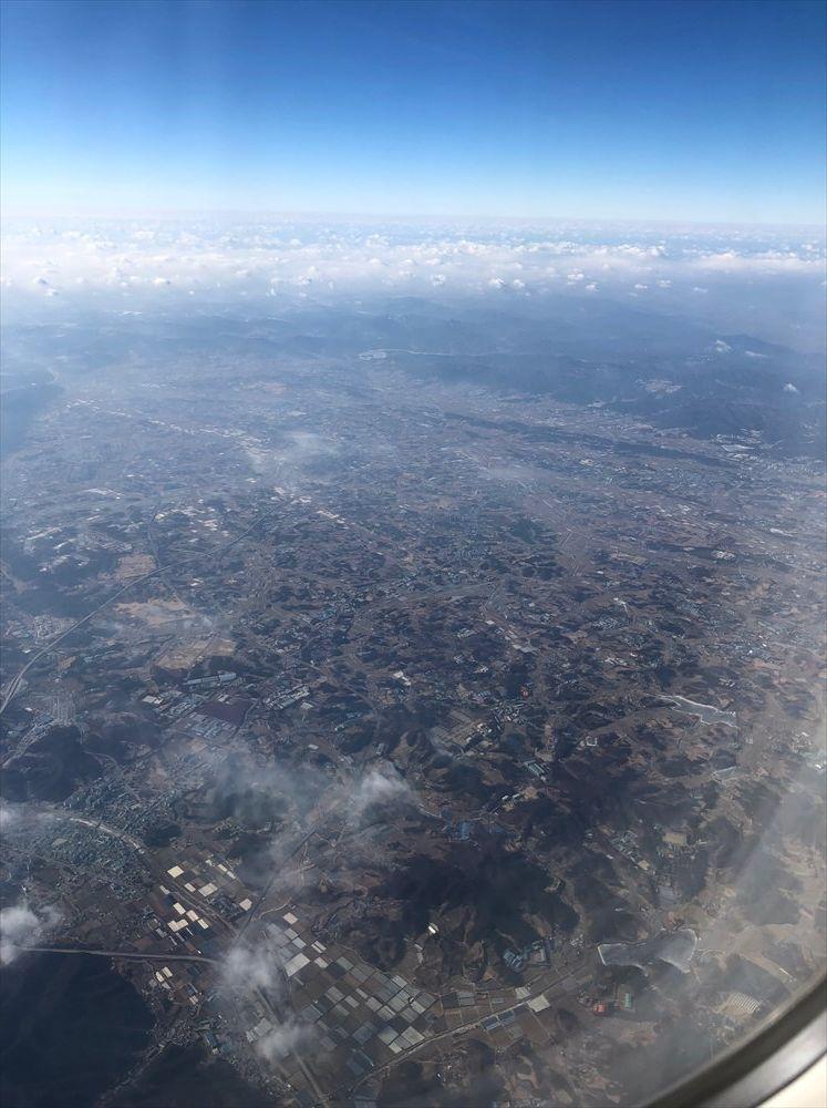 JAL91便の韓国の地形