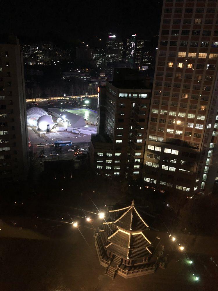 ウェスティン朝鮮ソウルのクラブラウンジからの眺め