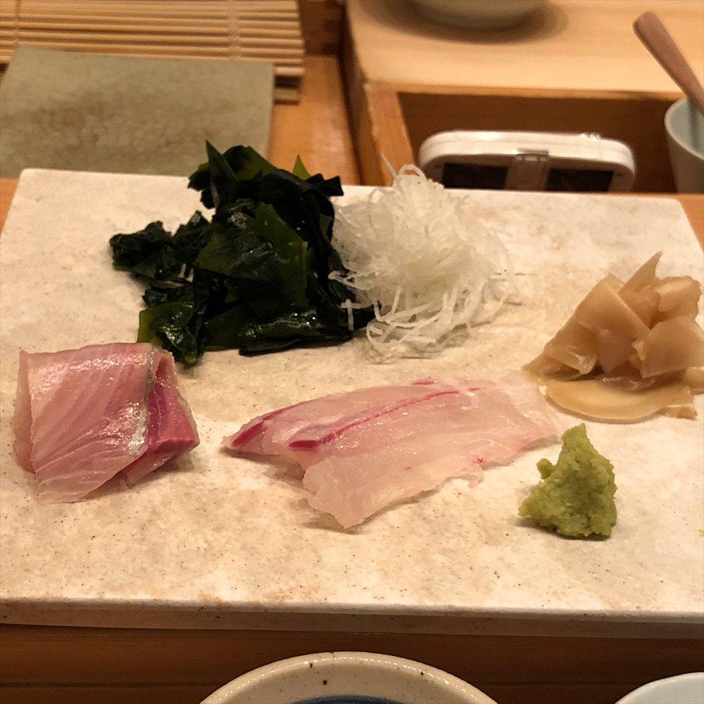 ウェスティン朝鮮ソウルのSUSHI CHOの真鯛とカンパチ