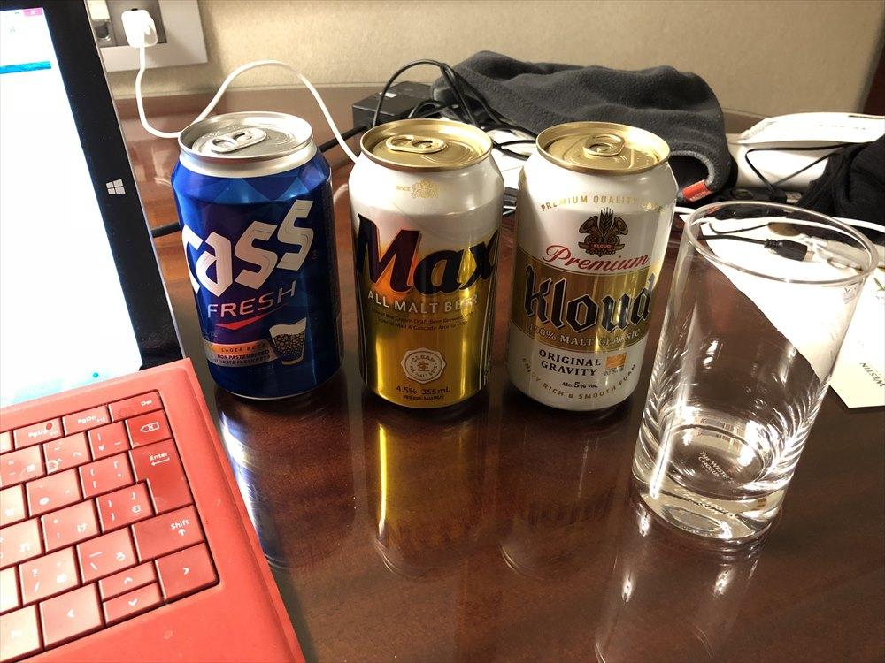 ウェスティン朝鮮ソウルの部屋でビール
