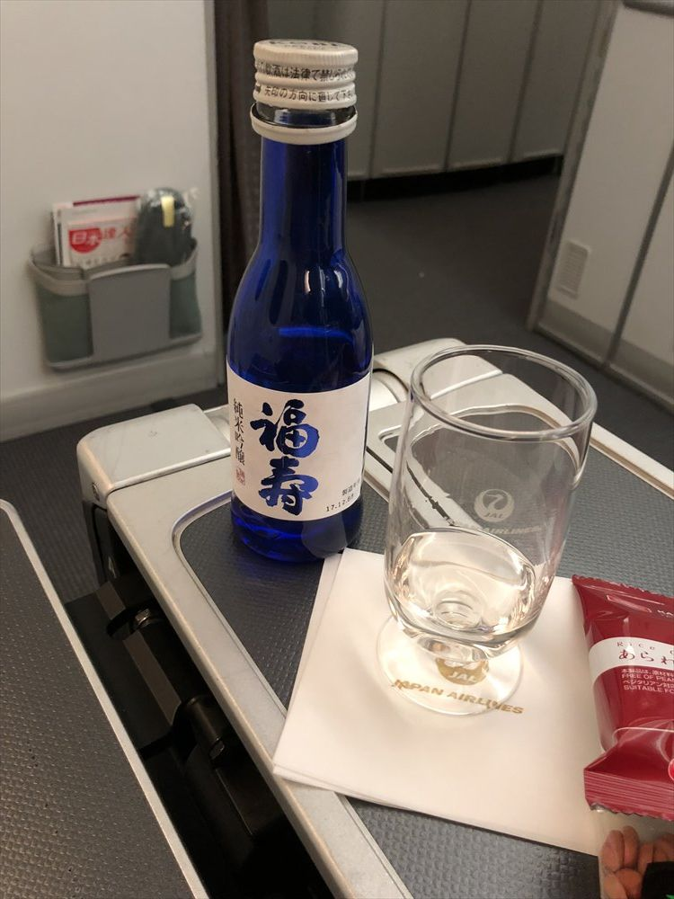 JAL94便(ソウル金浦-羽田)ビジネスクラスの福寿の純米吟醸