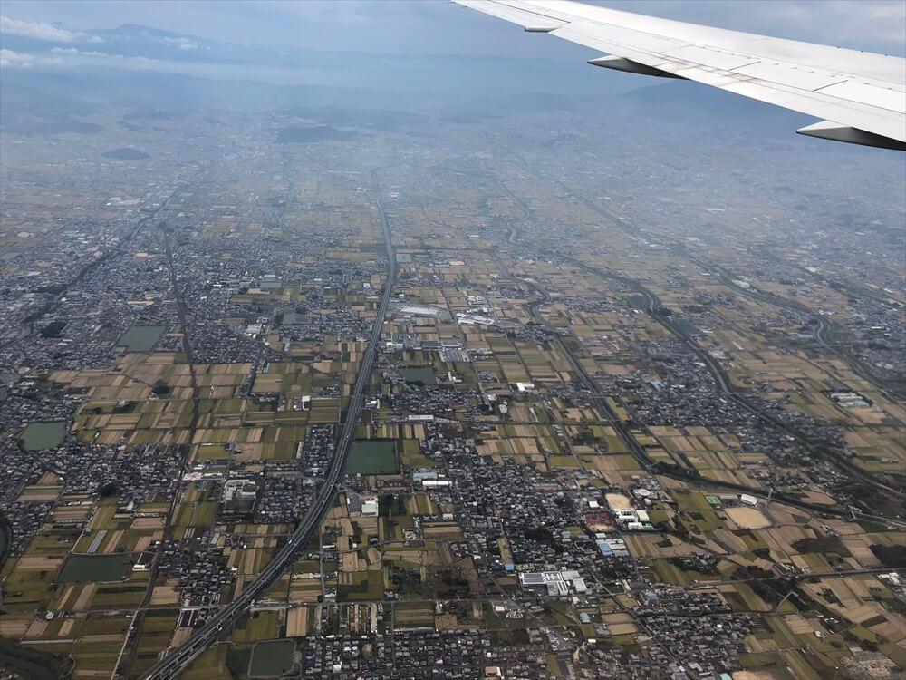 JAL115便から見た大阪平野の田んぼ