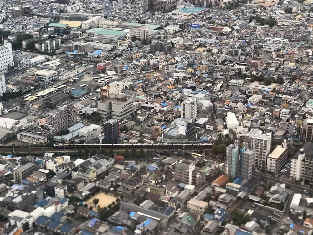 JAL115便から見た阪急電車