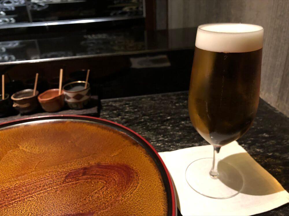 リッツカールトン京都の水暉の天ぷらのビール