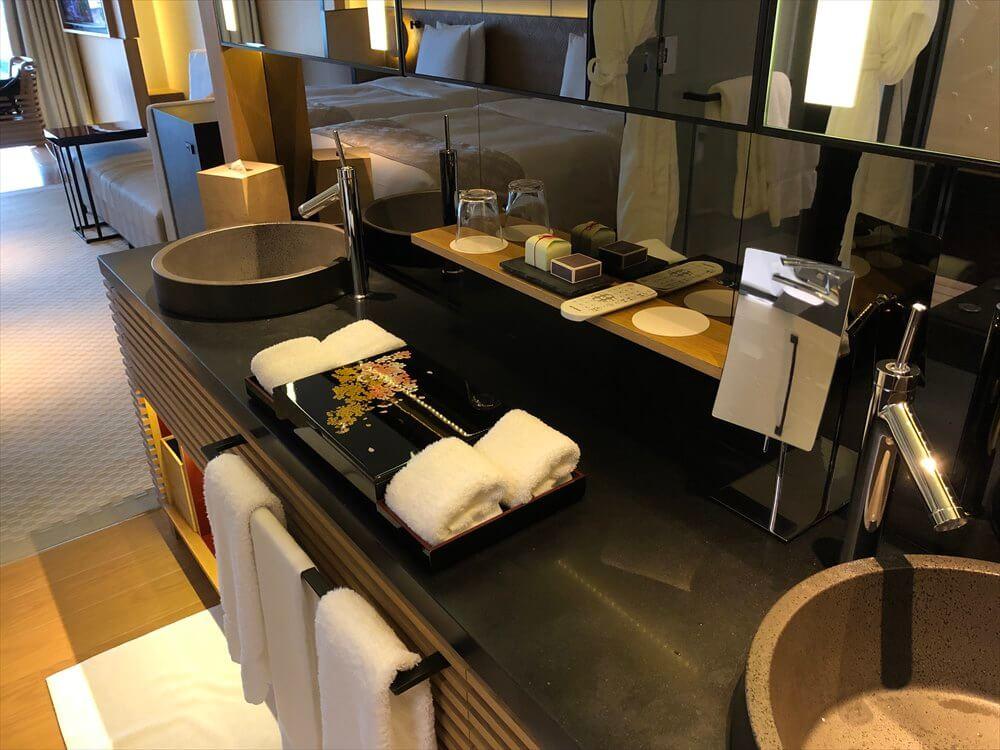 リッツカールトン京都のラグジュアリーの洗面台