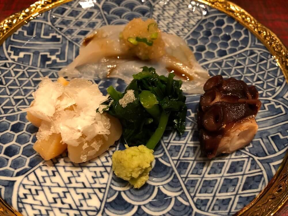 リッツカールトン京都の「水暉」の大星、ふぐ、煮だこ、クレソン