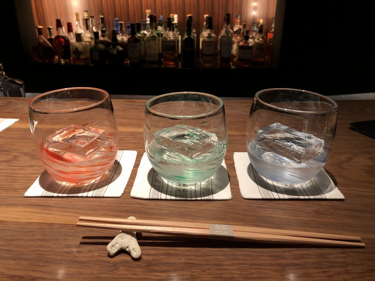 リッツカールトン沖縄のバーの泡盛3種飲み比べ1