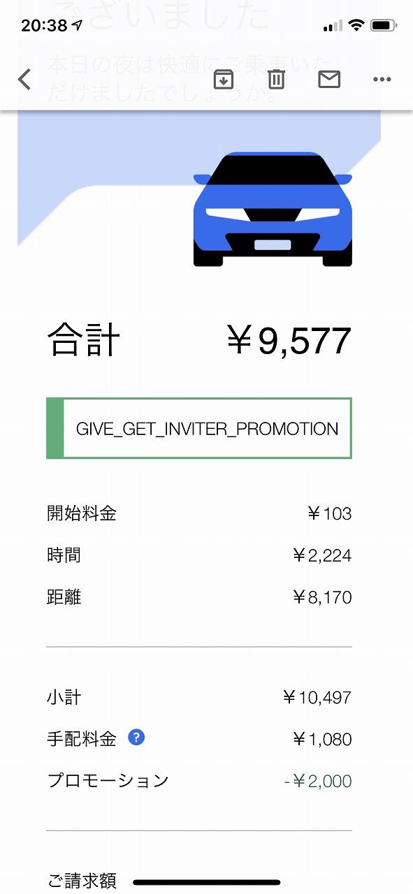 羽田空港から自宅までのUber料金