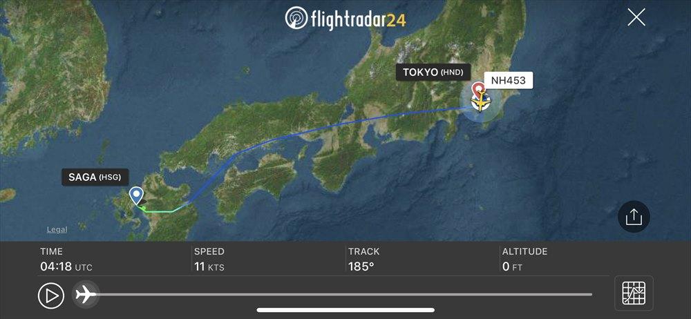 ANA453便のルート