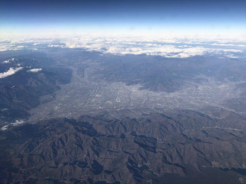 ANAの453便からの甲府盆地