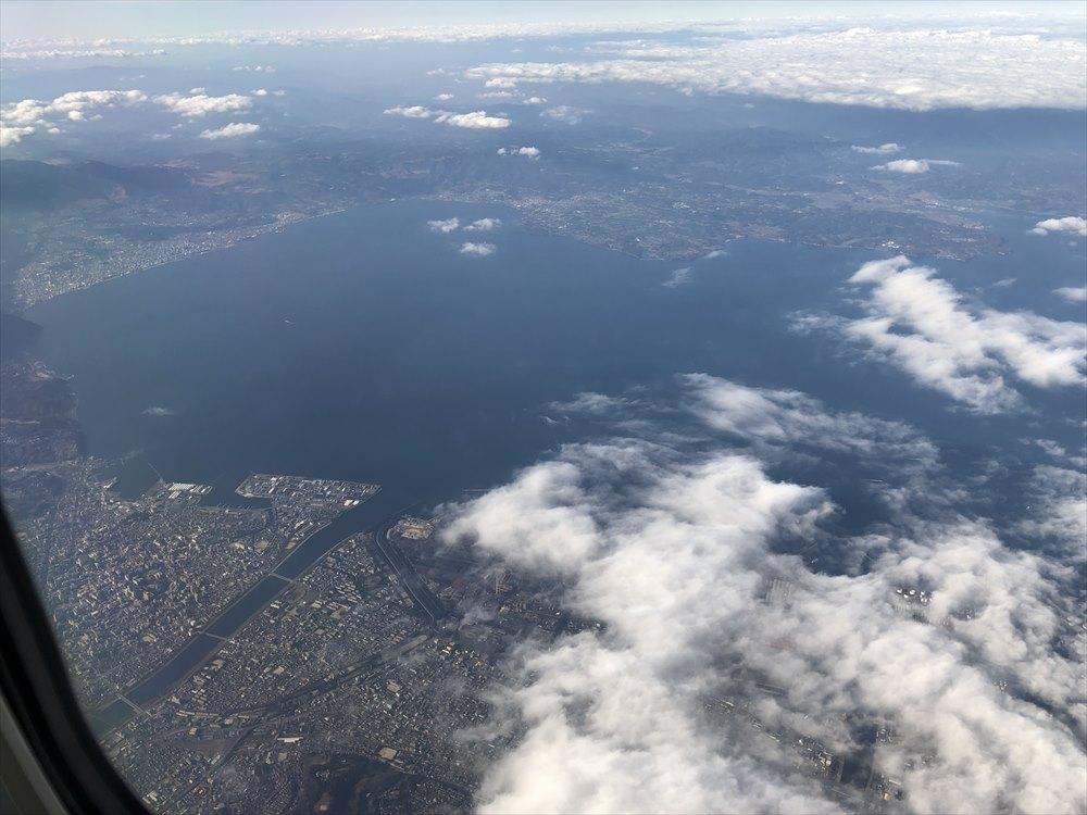 ANAの453便から別府湾