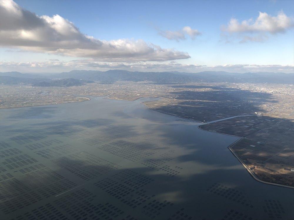 ANAの453便から有明海