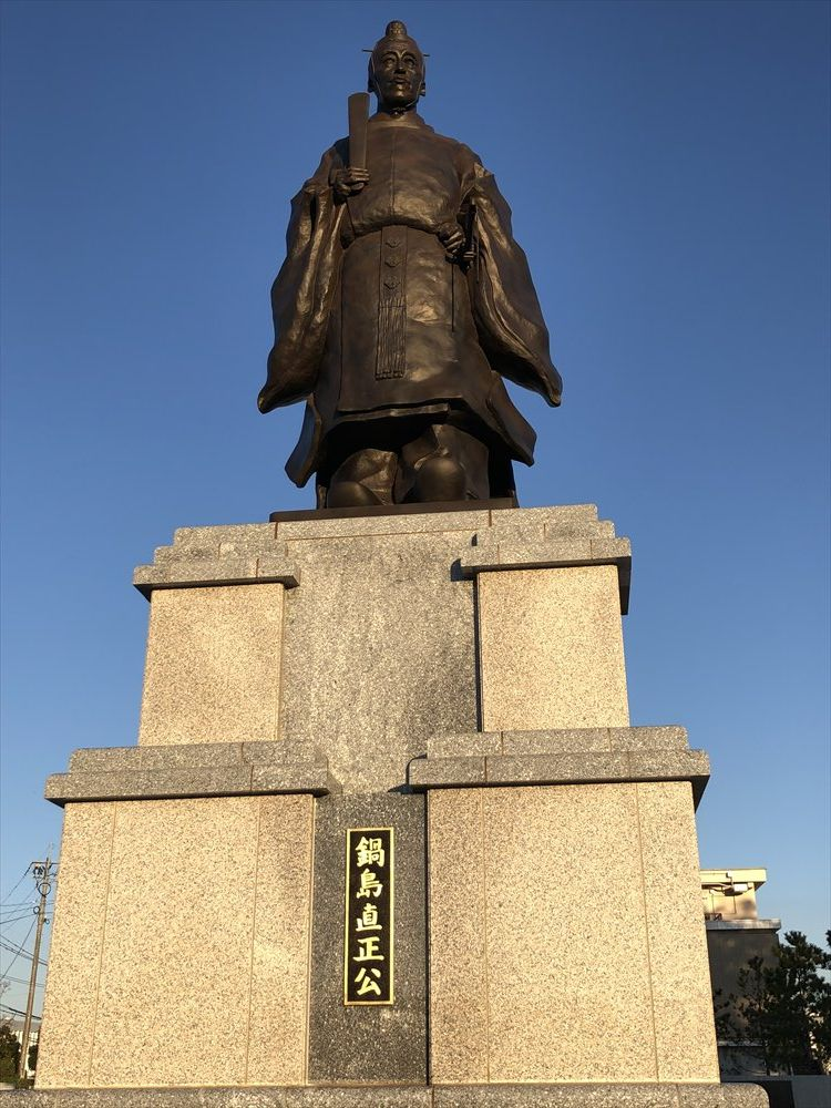 佐賀城の鍋島直正公の銅像