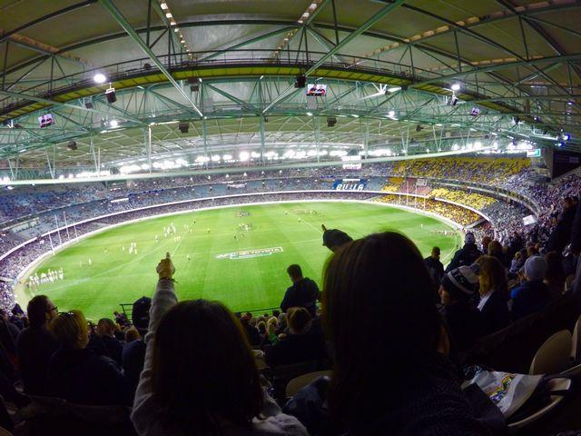 ドックランズスタジアムの3階席からの眺め