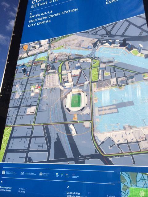 エティハド・スタジアム周辺の案内マップ