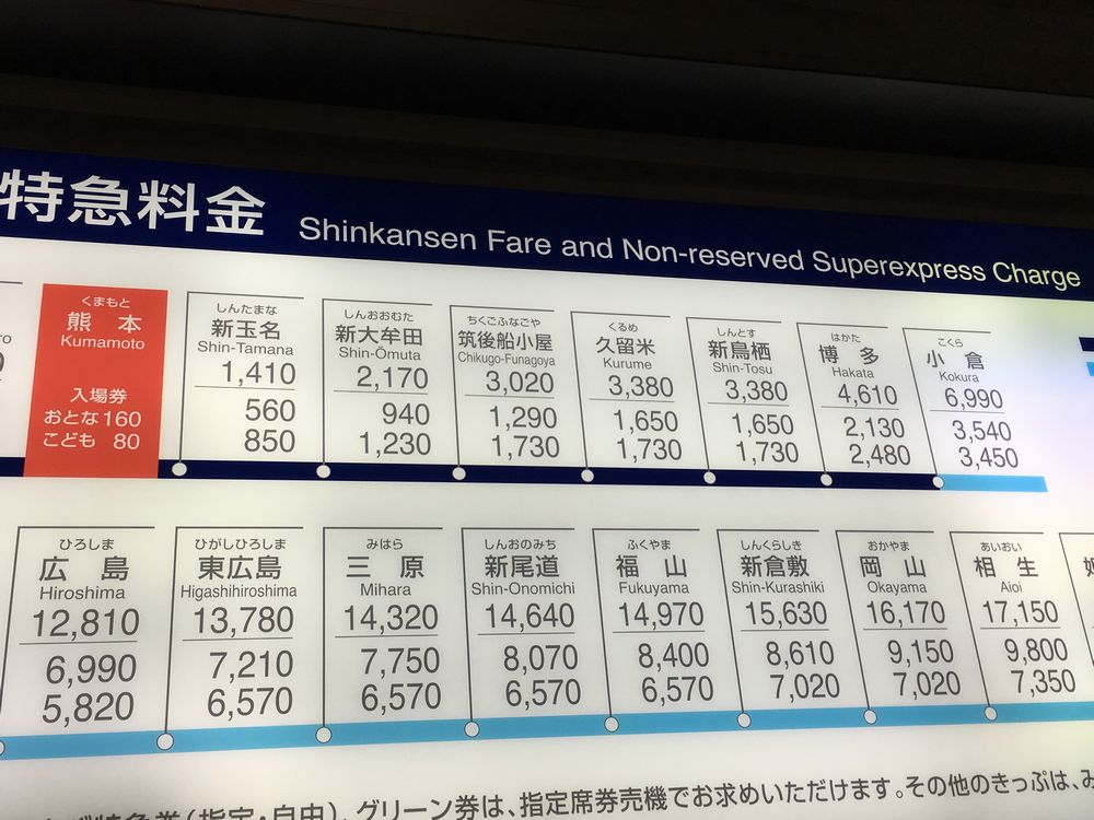 熊本から博多までの料金表