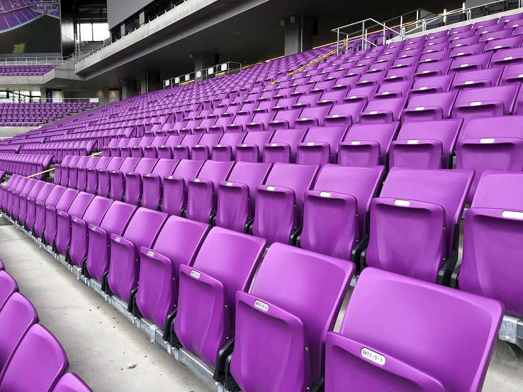 サンガスタジアムの内覧会の椅子