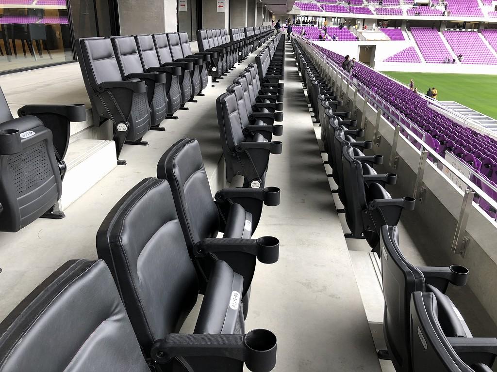 サンガスタジアムのメインスタンド1階席の最上層にあるVIPシート