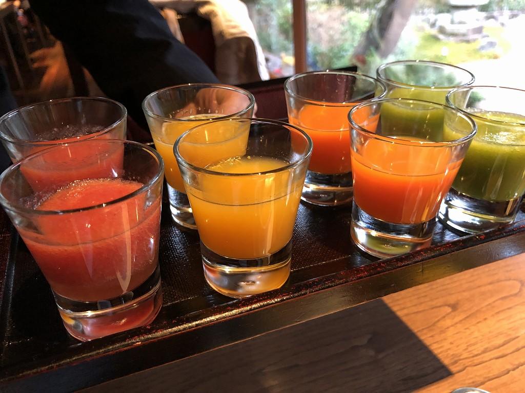翠嵐ラグジュアリーコレクションホテル京都の朝食のジュース