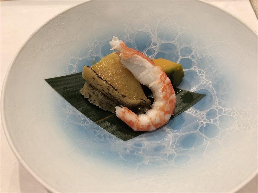 札幌の鮨 西光のアワビ、かぼちゃ、シマエビ