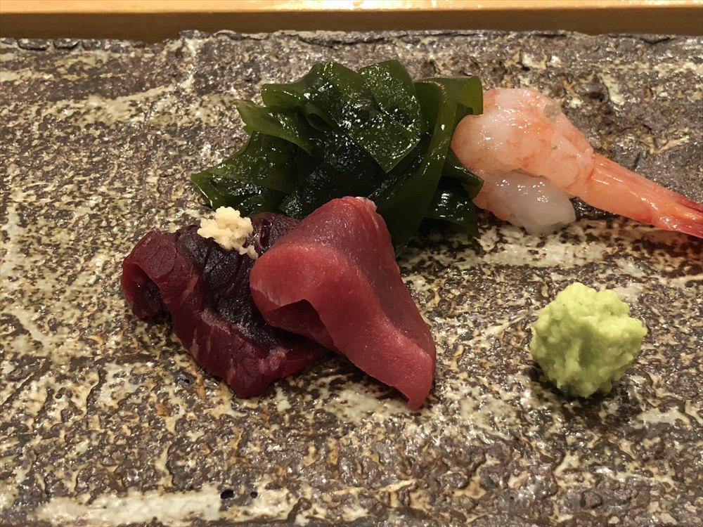 札幌の鮨 西光のマグロ、甘エビ、クジラ