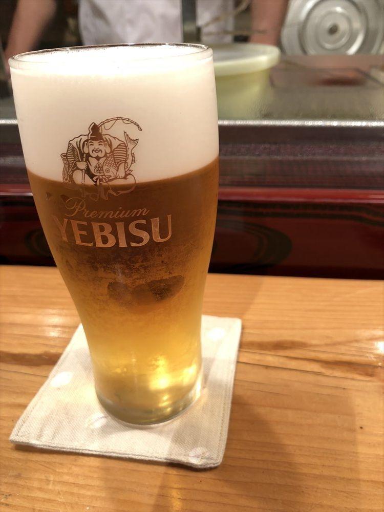 仙台 文化横丁の新富寿司のビール